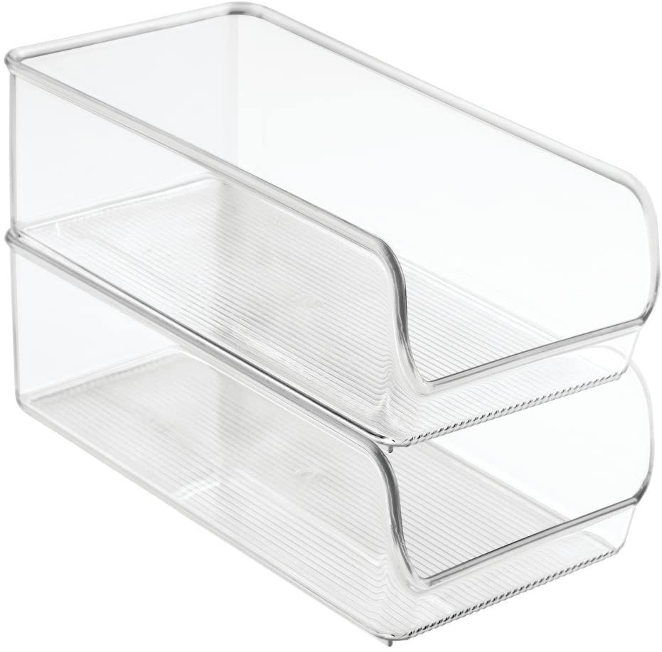 """iDesign Linus Plastic Fridge and Freezer Storage Organizer Bin, Clear Container for Food, Drinks, Produce Organization, BPA-Free , 11"""" x 5.5"""" x 3.5"""", Set of 2, Clear"""