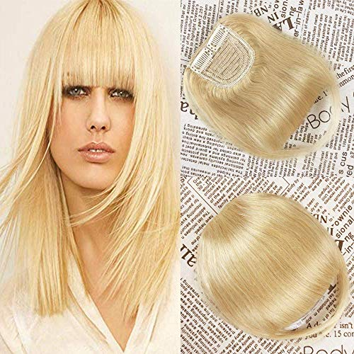 HIKYUU Blonde Blunt Bangs Hair Clip Human Hair One Piece Clip in Hair Bangs/Fringe with Temples Human Hair Bangs Hairpiece for Women