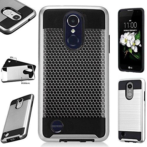 For LG Aristo 2 X210 / LG Tribute Dynasty / LG Fortune 2 / LG K8 (2018) Case Brushed Metal Texture Hybrid TPU MetaGuard Phone Cover (Metal Mesh (Dynasty Mesh)