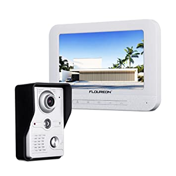 FLOUREON 7 Inch Video Doorbell Phone System Clear LCD Monitor Wired Intercom Kits