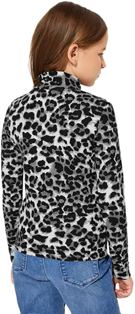 Imily Bela Girls Leopard Cowlneck Shirts Long Sleeve Fashion Cute Pullover Blouse Tops