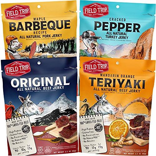 Field Trip Gluten Free, High Protein, Variety Pack: Original Beef Jerky, Cracked Pepper Turkey Jerky, Mandarin Orange Teriyaki Beef Jerky, Maple Barbeque Pork Jerky, 2.2oz Bag, 4 Count
