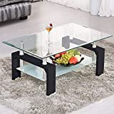 Mecor Rectangle Glass Coffee Table-Black Modern Side Coffee Table with Lower Shelf, Wooden Legs-Suit for Living Room