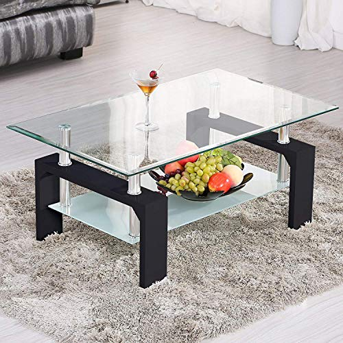 Mecor Rectangle Glass Coffee Table-Black Modern Side Coffee Table with Lower Shelf, Wooden Legs-Suit for Living Room Review