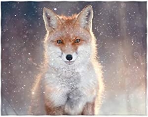 QH 58 x 80 Inch Fox Print Super Soft Throw Blanket for Bed Couch Sofa Lightweight Travelling Camping Throw Size for Kids Adults All Season