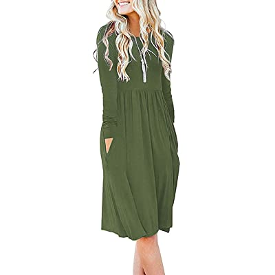 DB MOON Women Casual Long Sleeve Dresses Empire Waist Loose Dress with Pockets at Women's Clothing store