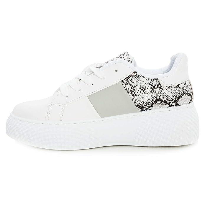 Dettagli su Scarpe donna sneakers platform leopardate pitonate zeppa para TOOCOOL BO 112