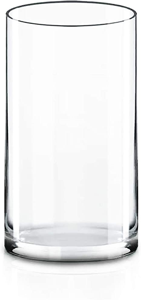 Amazon Com Cys Excel Cylinder Clear Glass Vase H 12 D 6 Multiple Size Choices Glass Flower Vase Centerpieces Hurricane Floating Candle Holder Vase Home Kitchen