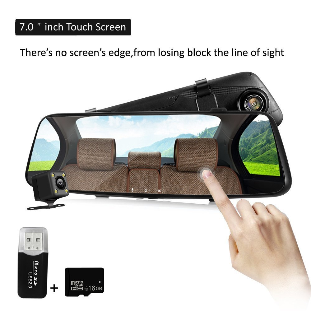 Mirror Dash Cam 7.0'' Touch Screen FHD 1080P 170° Wide Angle Dashboard Camera Recorder, Rear View Waterproof Backup Camera With G-Sensor, Night Vision, Loop Recording, Parking Mode With 16GB TF Card