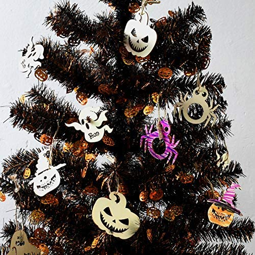 Decoration Halloween Tati.Amazon Com Yuqi Set Of 27 Wooden Spider Ghost Pumpkin Shapes Wood Embellishments Halloween Craft Decoration Gift Decoupage For Halloween Ornaments Home Kitchen