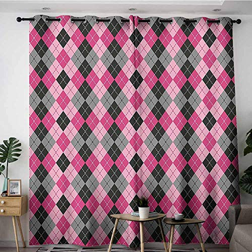 - Onefzc Blackout Curtains,Abstract Argyle Motif with Diamonds and Lozenges Infinite Symmetric Stripes Image,Grommet Curtains for Bedroom,W84x108L,Baby Pink Black Grey