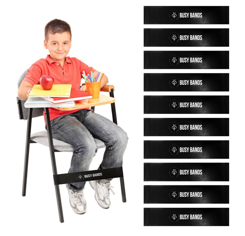 Busy Bands : Chair Bands for Kids with Fidgety Feet : Fidget Bands for School Classroom Chairs, Ideal for ADHD, Autism, Hyperactivity : Size: 20'' x 2'' x 3/64'', THICK to support Kicking (10)