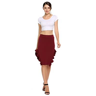 Zeagoo Women's High Elastic Waist Stretchy Black Pencil Fishtail Skirt Casual Office Wear