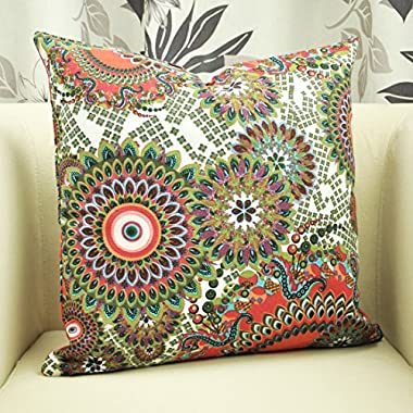 Benfan Cotton Canvas Decorative Square Throw Pillow Cover with Printed Canvas Size 20x20inch