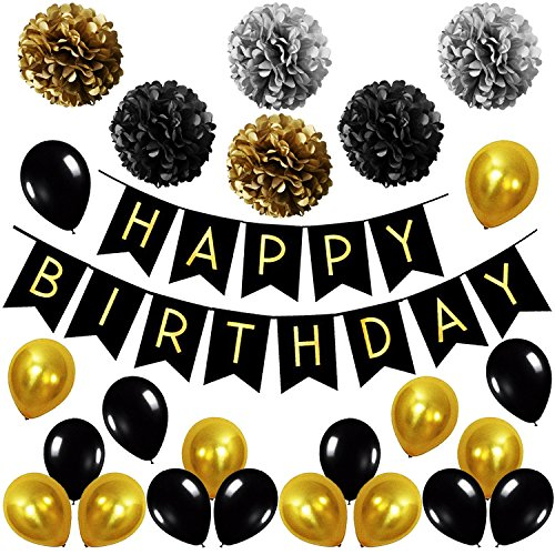 Birthday Party Gold Decoration Set, Happy Birthday Banner | Black, Gold Balloons | Paper Pom Poms Party Supplies for 1st, 30th, 40th, 50th, 60th Birthday Decoration (30th Birthday Party Themes)