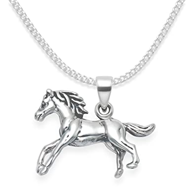 Sterling silver horse necklace on 18 chain premium quality sterling silver horse necklace on 18quot chain premium quality solid double sided aloadofball Gallery