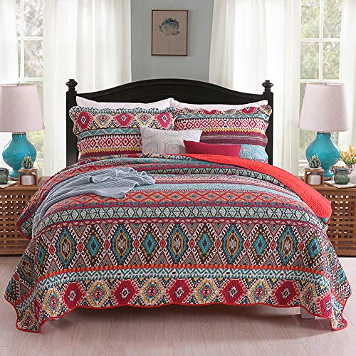 Umineux Quilt Cotton Bedding Set Queen, Reversible 3-Piece Bedspread Coverlet Set with Shams Printed Patchwork Oversized Soft for All Season - Striped Geometric Style (Western Coverlet Set)