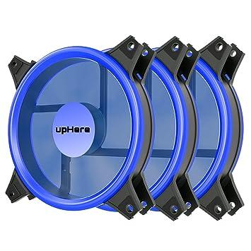 upHere novonest Ventiladores Ultra Desplazamiento para Case 120 mm, con LED Azul, Esparcidores de Calor y Radiador para CPU 3-Pin, 2 Set: Amazon.es: ...