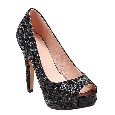 a0854b7f73cf Latasa Women's Sequins Peep Toe Platform High Heels Dress Pumps (4.5, Black)
