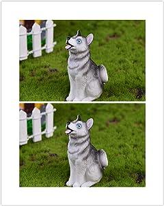 DAWEIF 2PCS Resin Dog Animal Figurines Fairy Garden Bonsai Micro Landscape Dollhouse Ornaments Miniatures Decoration(2)