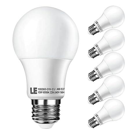 LE Pack de 5 bombillas LED, A60, E27, consumo 10W, equivalencia incandescente