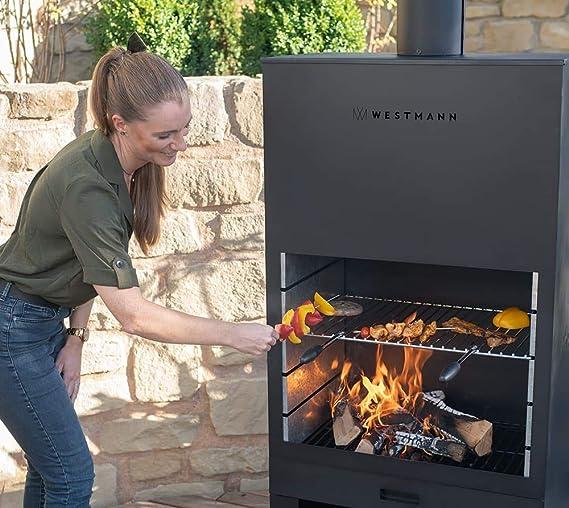 Westmann Terrassenofen Feuerstelle 90x41x160 cm schwarz Gartenkamin Gartenofen Garten Feuerschale Feuertopf Feuertonne Kaminofen