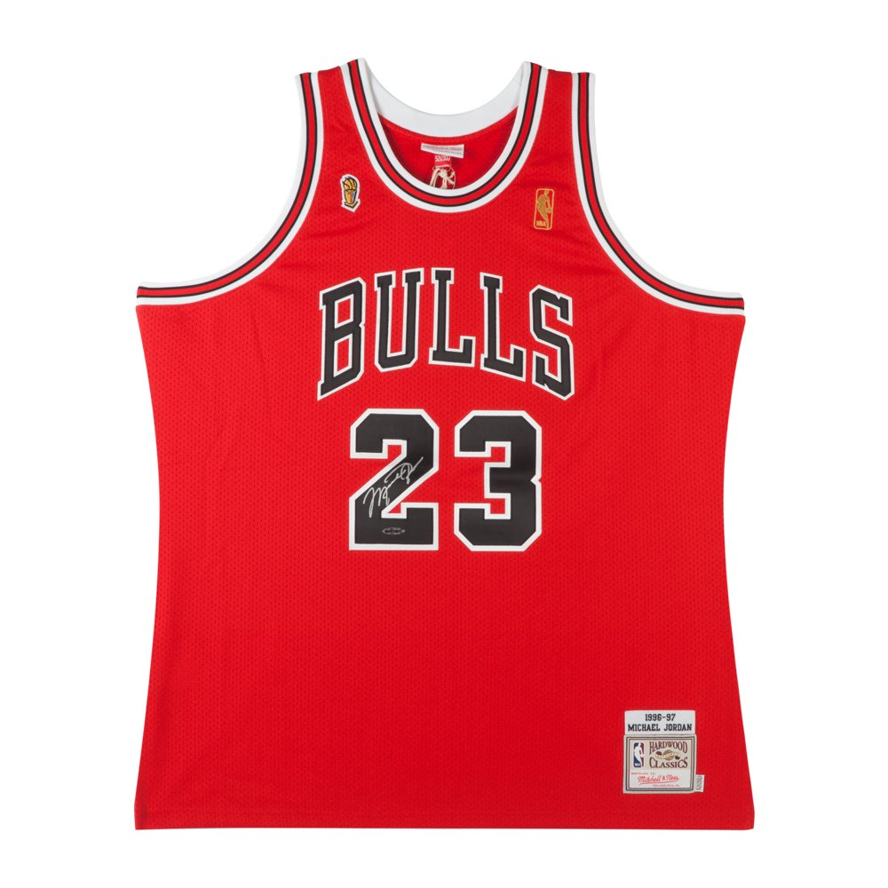 7c2a4dcf14a MICHAEL JORDAN 1997 CHICAGO BULLS RED MITCHELL & NESS NBA FINALS PATCHED  JERSEY at Amazon's Sports Collectibles Store