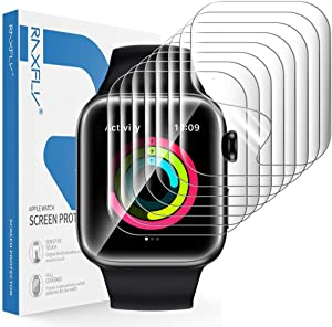 RAXFLY [8 Pack] Screen Protector Compatible with Apple Watch SE Series 6/5/4 44mm and Apple Watch 1/2/3 42mm Soft TPU Coverage Screen Protector