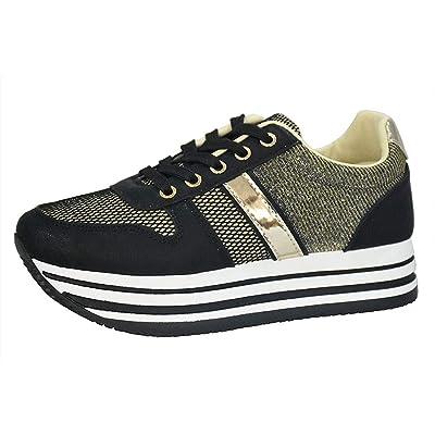 ROXY ROSE Women's Platform Sneakers Breathable Flyknit Glitter Mesh Non-Slip Walking Shoes   Walking