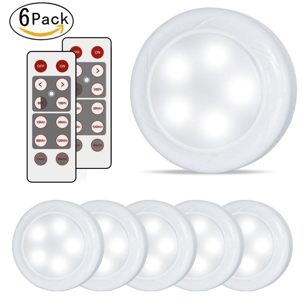 LifeHolder 6 PackパックLEDライト、タイマーワイヤレスキッチン下キャビネット照明、Battery Powered LEDパックライトwithのリモートコントロールキッチン[カウンタ保育園寝室廊下階段 B07BFQ14KF 13783