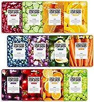 FARMSKIN Freshfood Salad For Skin Beauty Facial Sheet Mask 12 Sheets Set, Assorted Value Pack