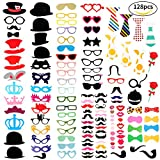 Tomons Photo Booth Props 128pcs DIY Kit for Wedding, Birthday, Party, Photo Booth Novelty Dress Up Accessories Party Decorations Supplies