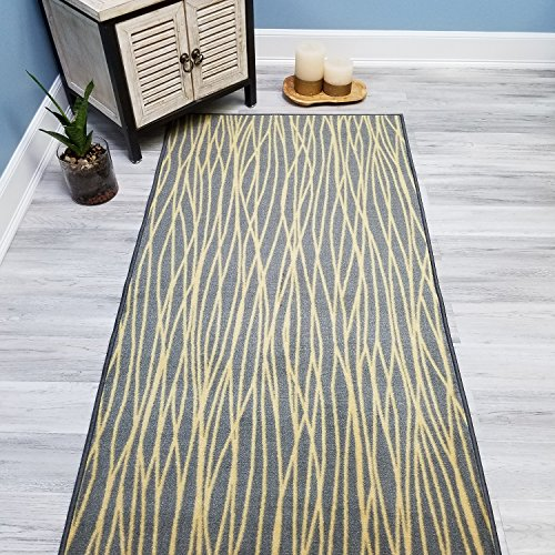 Your Choice Length Grey & Yellow Stripes Non-Slip Rubber Backed Carpet Runner Rug | 31-inch x 23-feet