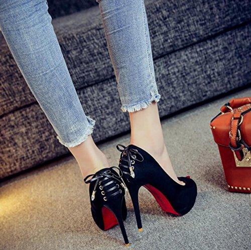 con ultracompacto El de única Black de boca impermeable zapatos sandalias satinado escritorio HGTYU zapatos 12cm con de pescado Luz sexy noche mujer wx4Hq