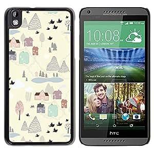 Be Good Phone Accessory // Dura Cáscara cubierta Protectora Caso Carcasa Funda de Protección para HTC DESIRE 816 // Painting Winter Village White Clean Cartoon