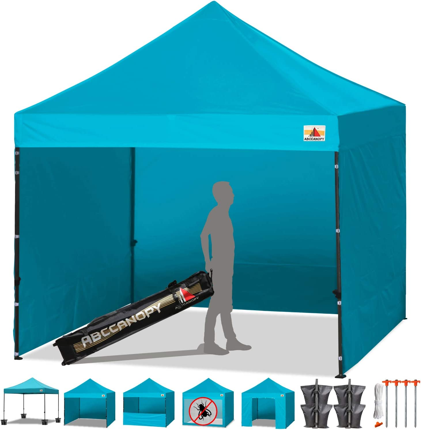ABCCANOPY Canopy Tent Popup Canopy 10×10 Pop Up Canopies Commercial Tents Market stall with 6 Removable Sidewalls and Roller Bag Bonus 4 Weight Bags and 10ft Screen Netting and Half Wall,Viridis