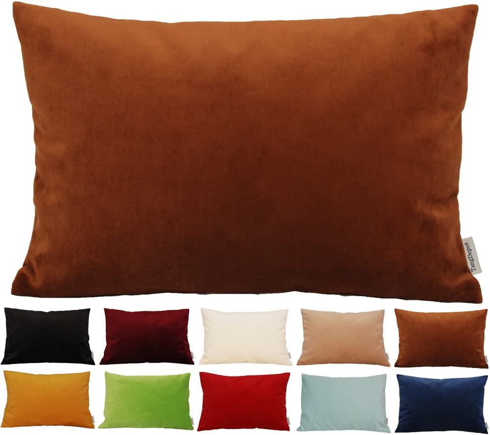 """TangDepot Solid Velvet Throw Pillow Cover/Euro Sham/Cushion Sham, Super Luxury Soft Pillow Cases, Many Color & Size Options - (12""""x18"""", Chocolate)"""