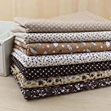 Fabric Squares DIY Cotton Brown Series 7 Assorted Pre Cut Charm Quilt for Fat Quarters 50cmx50cm Color in Brow