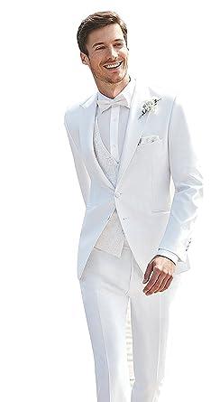 Jydress Mens 3 Piece White Wedding Suits Peak Lapel 2 Button Groom