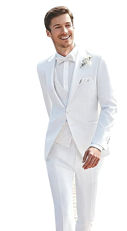JYDress Mens 3 Piece White Wedding Suits Peak Lapel 2 Button Groom Tuxedos