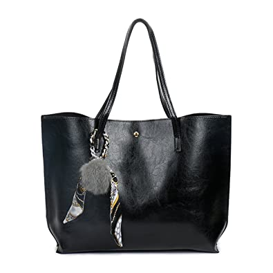KAMIERFA Vintage Oil PU Leather Tote Bags for Women Ladies Elegant Shoulder  Bags with Pompom ( 83e928622a3a5