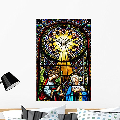 Colourful Stained Glass Windows Wall Mural by Wallmonkeys Peel and Stick Graphic (36 in H x 24 in W) (Abbey Stained Glass Print)