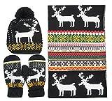 Bienvenu Women Scarf & Glove Set, Knitted Snowflake Deer Detail & Matching Cap,Black