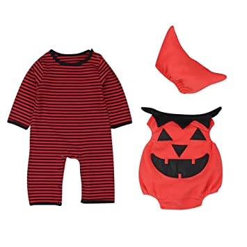 f46c65cab Le SSara Baby Winter Pumpkin Halloween Romper Newborn Bodysuit ...