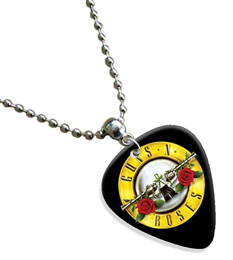 Guns N Roses logotipo del círculo superior de la cadena púa de guitarra