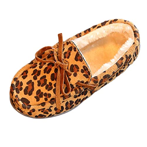 QinMM 1-12 años niños niñas bebé Invierno Leopardo Invierno cálido Princesa Zapatos Zapatillas de casa de Plano Mocasines: Amazon.es: Zapatos y complementos