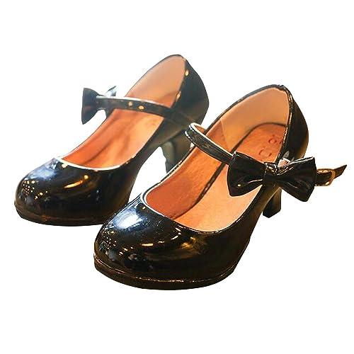 42a937a8abf BININBOX Girls PU Leather High Heel Shoes Bowknot Girls Dress Shoes