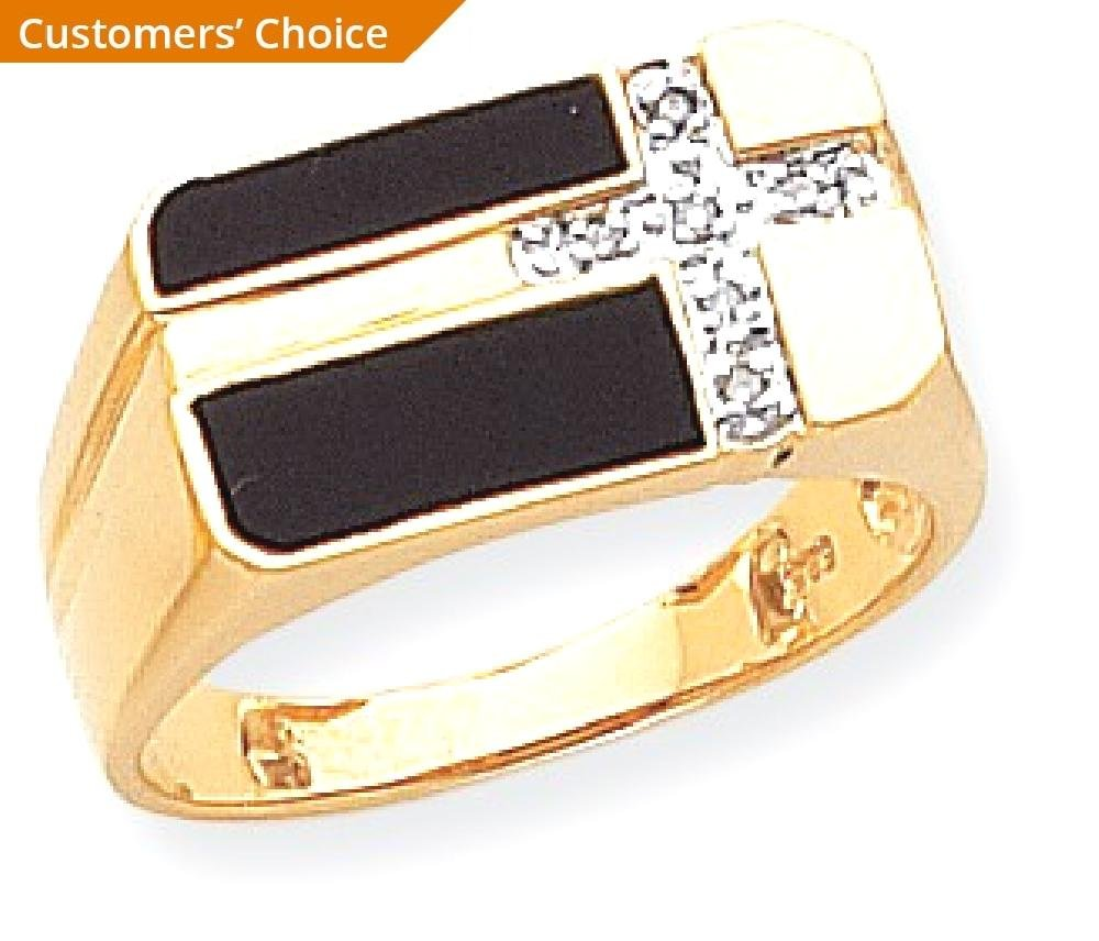 ICE CARATS 14k Yellow Gold Black Onyx Diamond Mens Cross Religious Band Ring Size 10.00 Man Fine Jewelry Dad Mens Gift Set by ICE CARATS (Image #2)