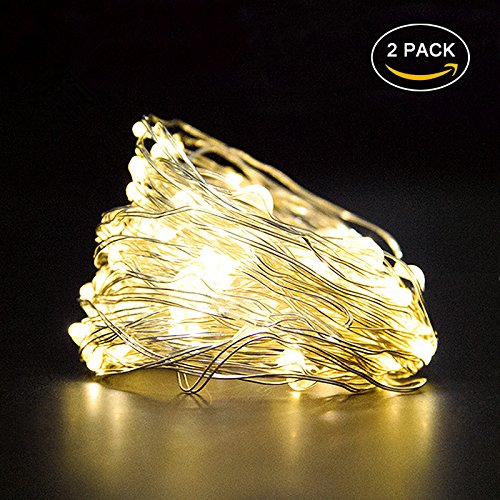 Warm White String Lights 16.5Ft Bright light Festival Decorations Battery Operated Lights For Garden Home Party Seasonal Decorative Holiday, Wedding (2Pack).