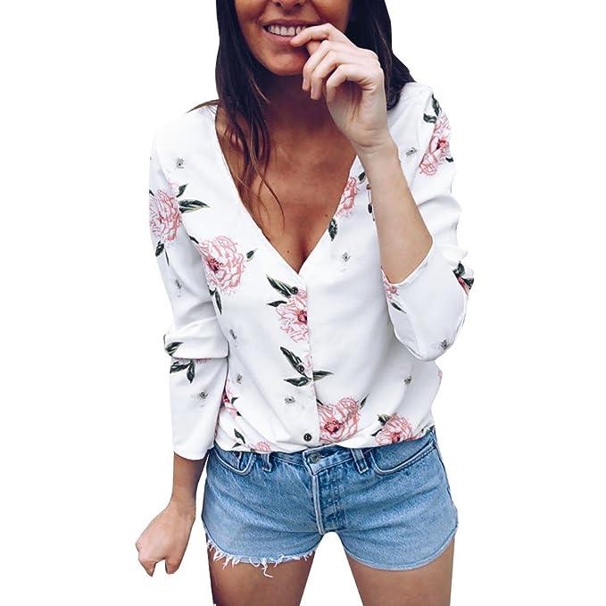 Camiseta Mujer Ropa con Cuello En V de Manga Larga Botón Blusas Estampada Floral Tops Casual
